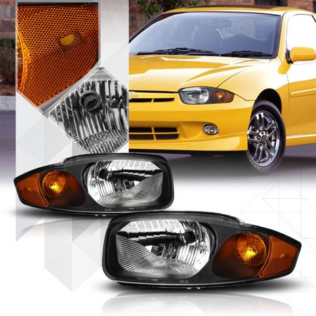 Cavalier Turn Signal (Black Housing Headlight Amber Turn Signal Reflector for 03-05 Chevy Cavalier)