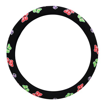 KM World Black 14.5-15 Inch Suede and Colorful Flower Design Steering Wheel Cover With Precise Hand Placements, Fits BMW 3 Series