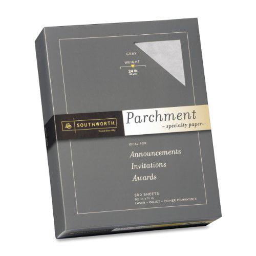 """Southworth 974c Parchment Paper - For Laser Print - Letter - 8.50"""" X 11"""" - 24 Lb - Parchment - 500 / Box - Gray (974C)"""