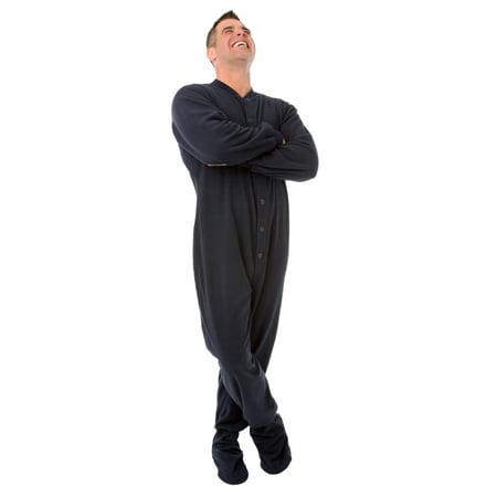 Navy Blue Micro Polar Fleece Adult Mens Footed Pajamas w/ Drop Seat - Mens Polar Fleece