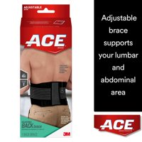 ACE Brand Back Brace, Adjustable, Black/Gray, 1/Pack