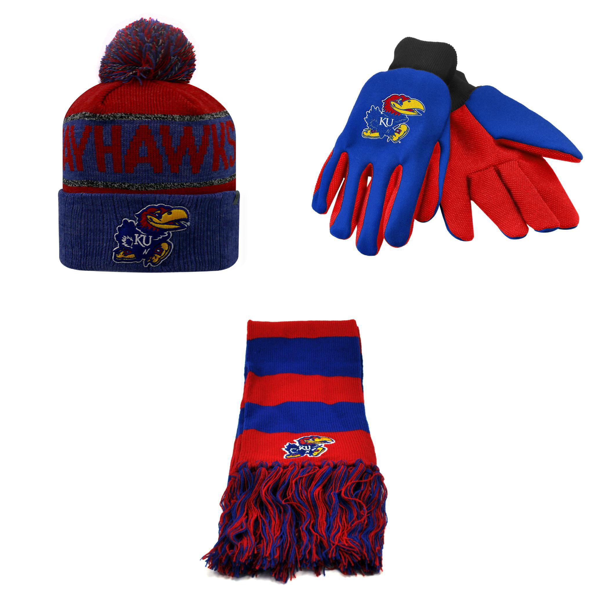 NCAA  Work Glove Colored Belowzero Beanie Hat And Stripe Scarf 3 Pack Bundle