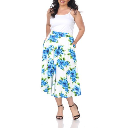 Darling Floral Skirt - Women's Plus Size Floral Midi Skirt
