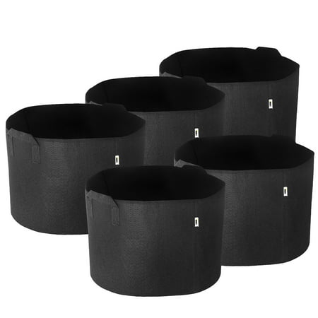 iPower 10-Gallon 5-Pack Grow Bags Fabric Aeration Pots Container with Strap Handles for Nursery Garden and Planting(Black)