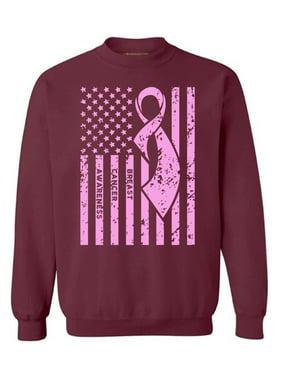 Awkward Styles Unisex Breast Cancer Awareness Graphic Sweatshirt Tops Pink Ribbon