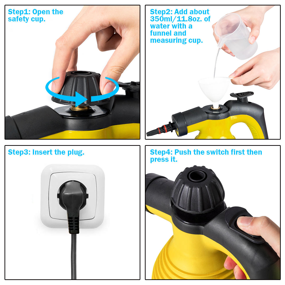simplyUSAhello 1050 W Multifunction Portable Steamer Household Steam Cleaner with Attachments r
