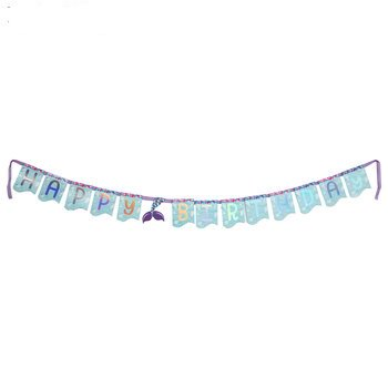 Happy Birthday Mermaid Tail Banner Party Supply Decoration ()