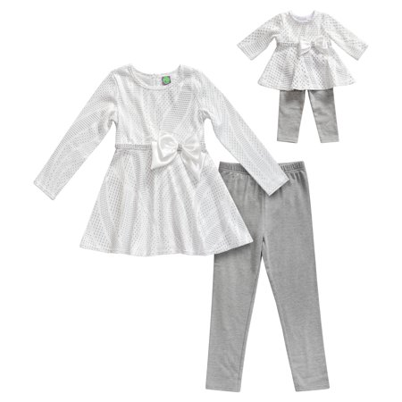 Peplum Long Sleeve Tunic and Legging, 2-Piece Outfit Set with Matching Doll Outfit (Little Girls & Big Girls)