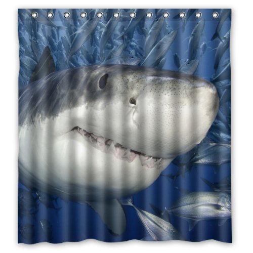 GreenDecor Great White Shark Waterproof Shower Curtain Set with Hooks Bathroom Accessories Size 66x72 inches