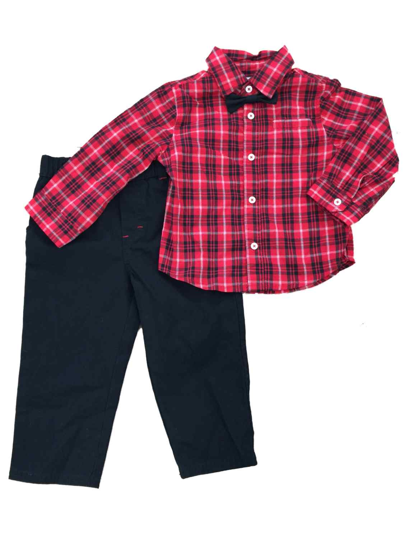 First Impressions Infant Boy 2 Piece Dress Up Red Plaid Shirt Black Pants