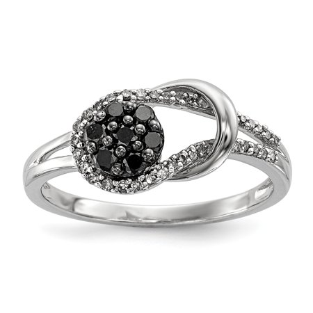 925 Sterling Silver Rhod Plated Black White Diamond Love Knot Band Ring Size 7.00 S/love Fine Jewelry Gifts For Women For Her - image 10 de 10