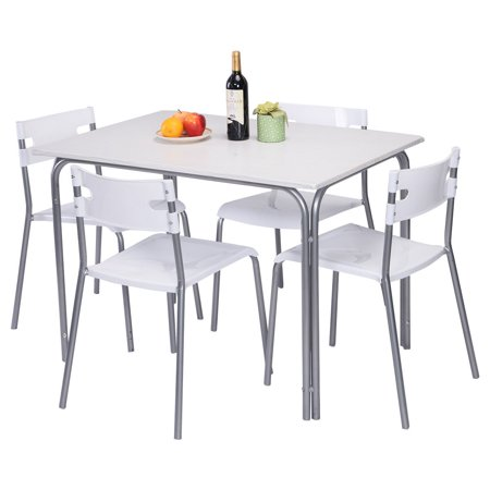Costway 5 PCS Dining Table Chairs Kitchen Living Room Dinner Furniture Striped Top