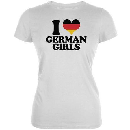 Oktoberfest I Heart German Girls White Juniors Soft T-Shirt (Oktoberfest Girls)