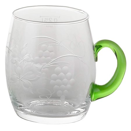 Etched Scalloped Glass (German Gluehwein Glass Mug Vintage Wine Cup w/  Etched Grape Leaves Glass Engraving )