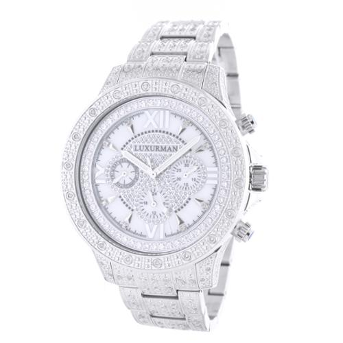 Luxurman Men's White Goldplated Stainless Steel Diamond Accent Quartz Watch