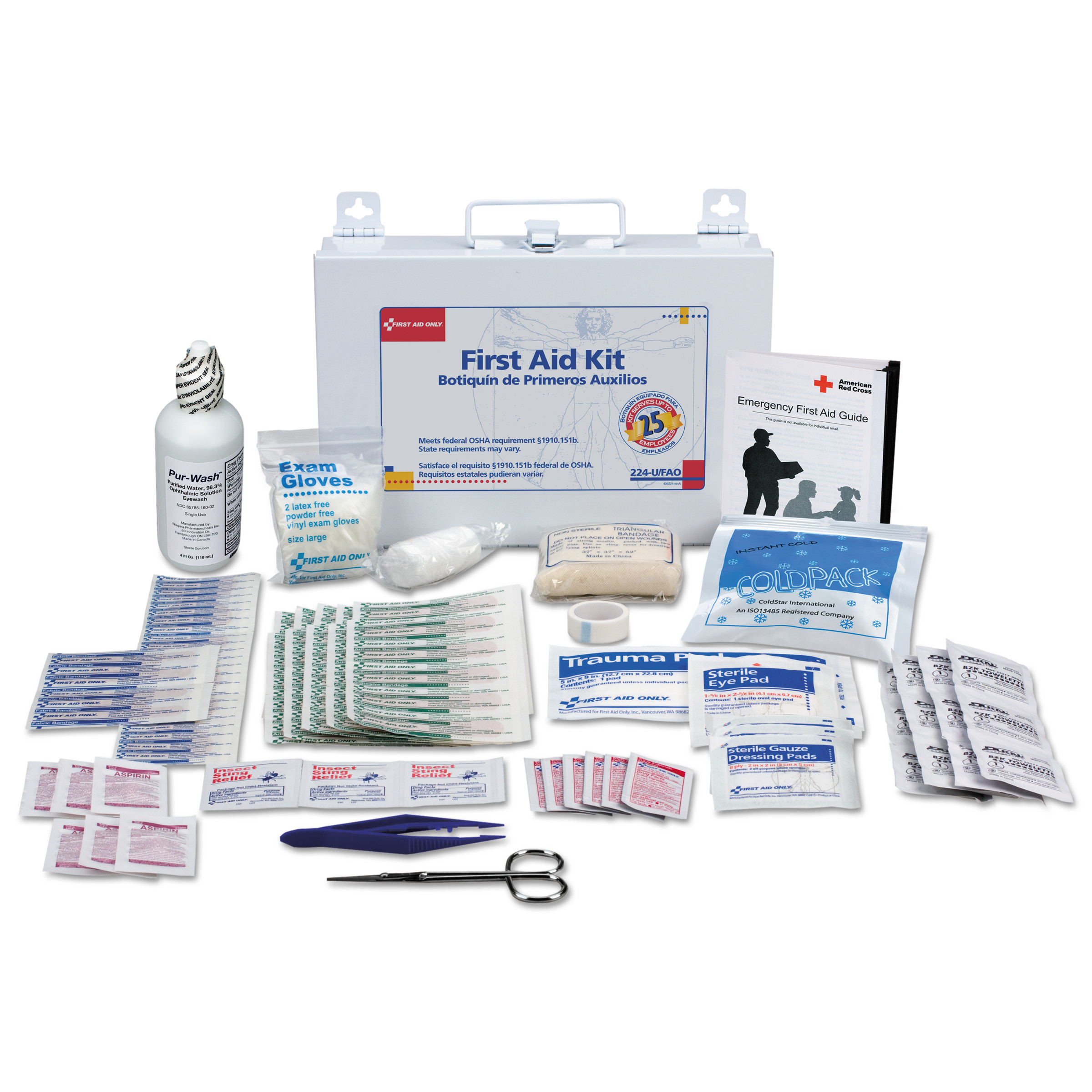 First Aid Only First Aid Kit for 25 People, 106-Pieces, OSHA Compliant, Metal Case