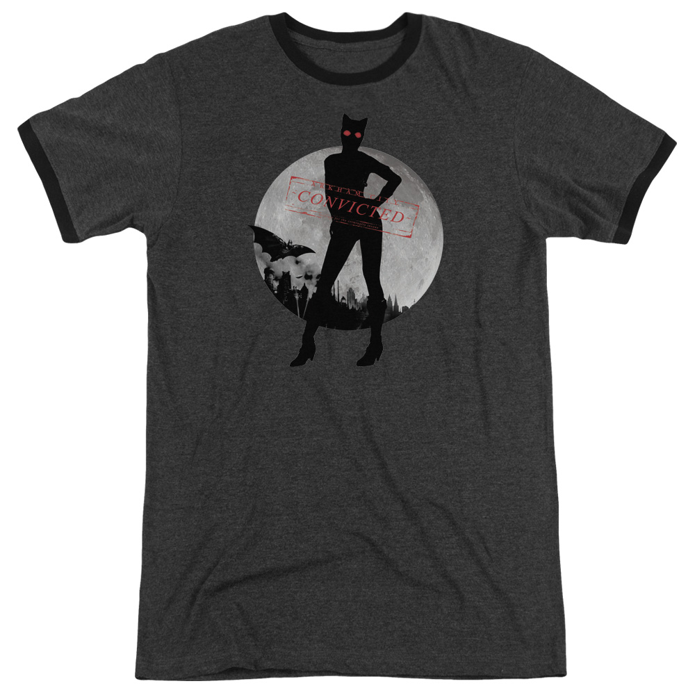 Arkham City Catwoman Convicted Mens Adult Heather Ringer Shirt
