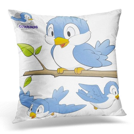 CMFUN Blue Children of Cute Cartoon Birds Grouped and Layered for Easy Editing Collection Pillow Case Pillow Cover 18x18 - Cute Easy Cartoons