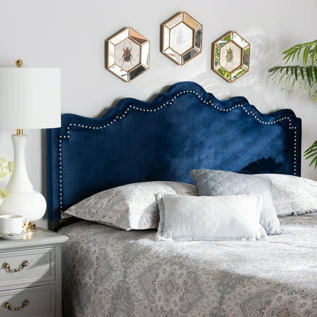 Baxton Studio Nadeen Modern and Contemporary Royal Blue Velvet Fabric Upholstered King Size Headboard