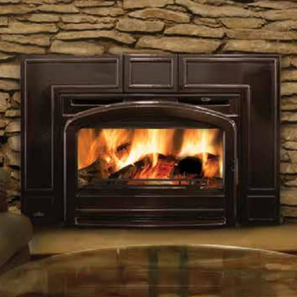 EPI3TN Traditional Flush Front Minimum Wood Burning Fireplace Insert, Majolica Brown