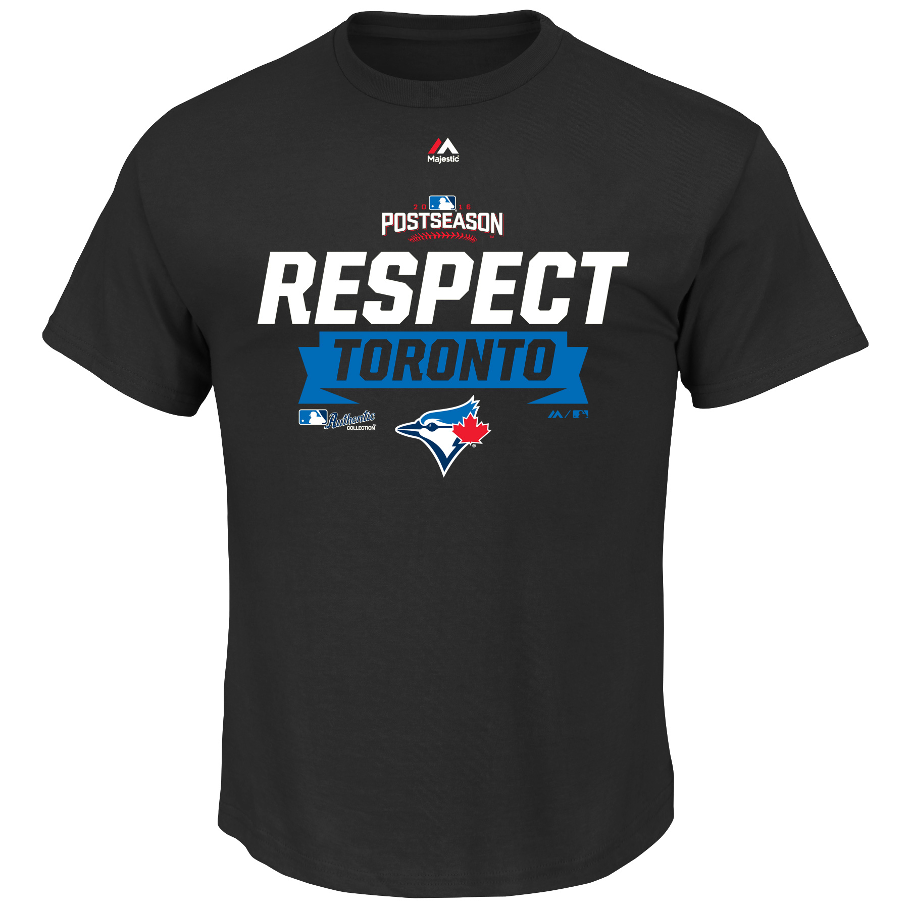 Men's Majestic Black Toronto Blue Jays 2016 Division Series Clincher Respect Locker Room T-Shirt