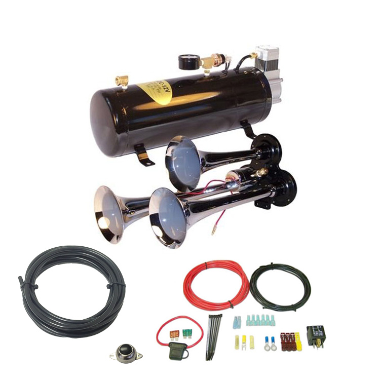 3-Trumpet Train Air Horn Kit -110 PSI Air System 150dB