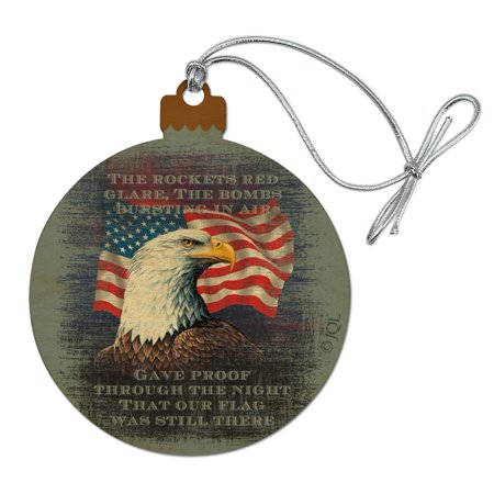 Patriotic Eagle Rockets Red Glare American Flag Wood Christmas Tree Holiday Ornament (Patriotic Christmas Ornaments)