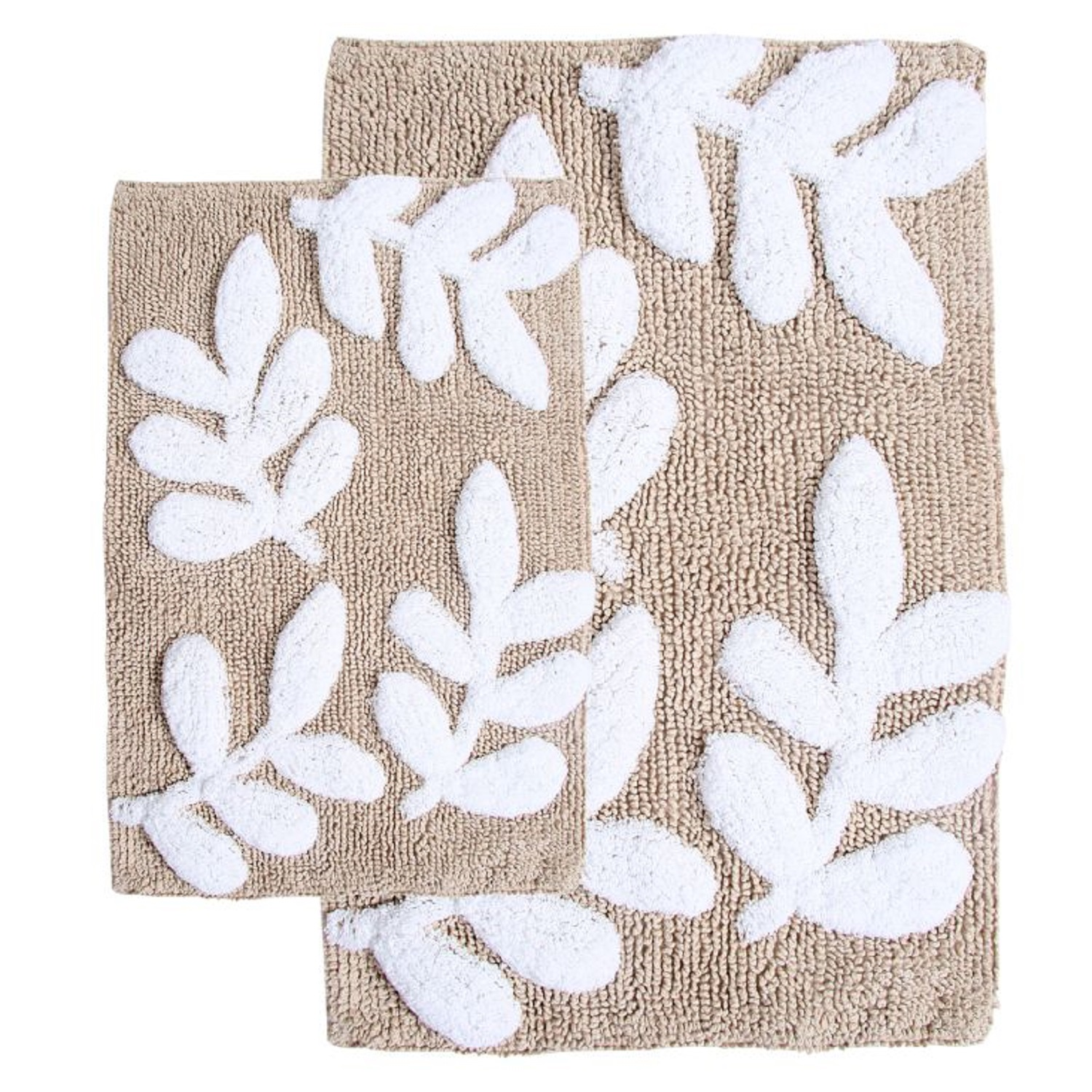 "Chesapeake Monte Carlo 2Pc. Taupe & White Bath Rug Set (21""x34"" & 17""x24"")"