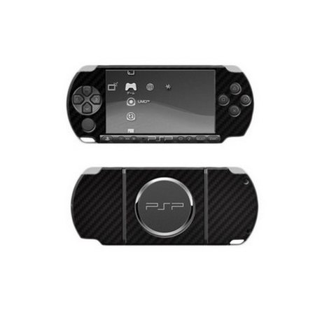 Skinomi Carbon Fiber Film Skin Black Body + Screen Protector for Sony PSP 3000
