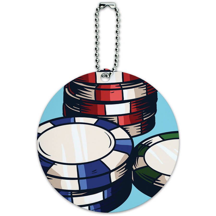 Poker Chips Casino Games Round Luggage ID Tag Card for Suitcase or Carry-On by Graphics and More