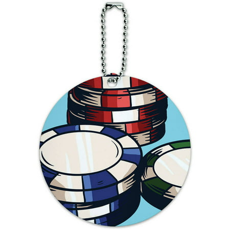 Poker Chips Casino Games Round Luggage ID Tag Card for Suitcase or Carry-On