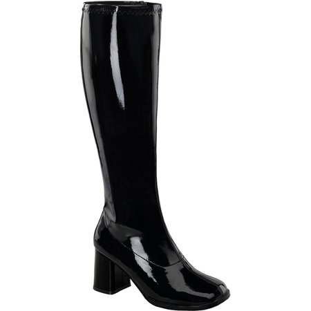 Womens Knee High Boots GOGO 3 Inch WIDE CALF Sexy Block Heel Knee Boot Black Pat - Wide Calf Gogo Boots