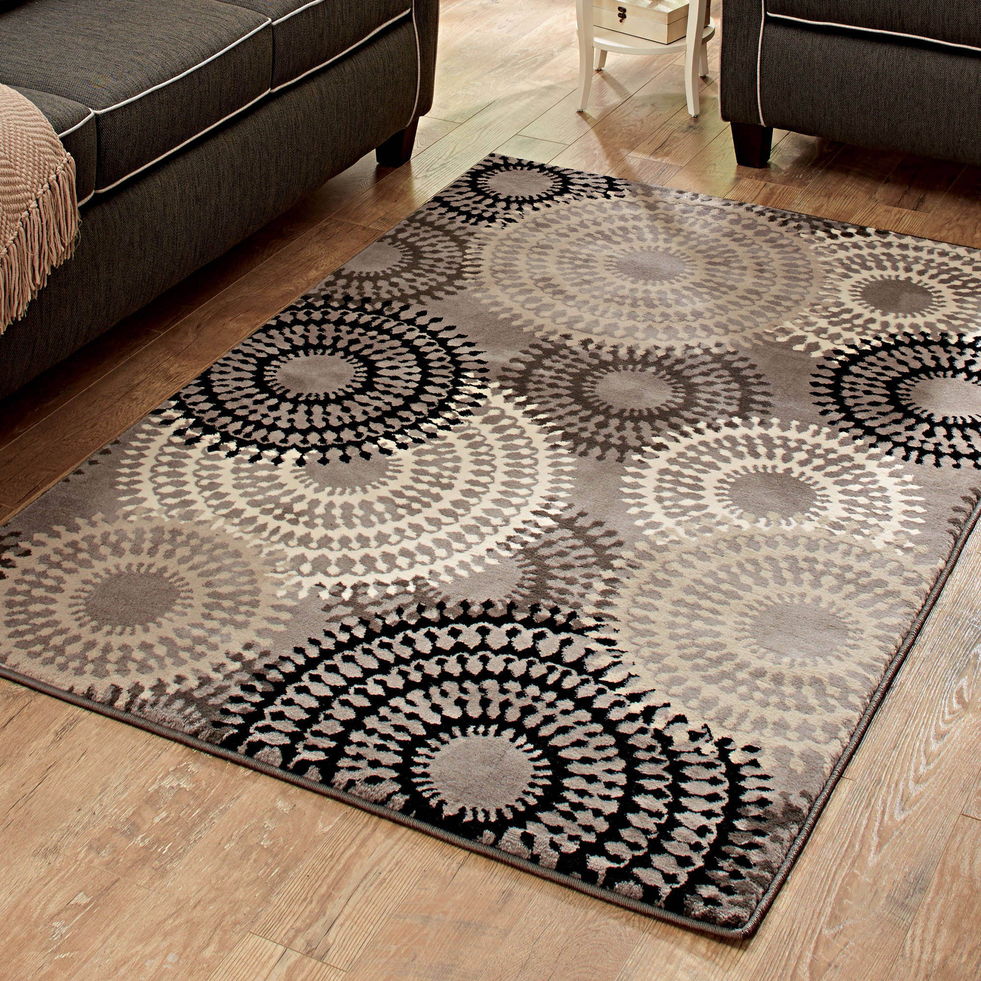 Better Homes Or Gardens Taupe Ornate Circles Area Rug Or