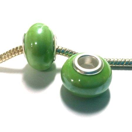 3 Beads - Green Pearl Porcelain Silver European Bead Charm (Porcelain Beads Charms)