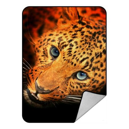 - PHFZK Wildlife Blanket, Nature Series of Animal Leopard Portrait Fleece Blanket Crystal Velvet Front and Lambswool Sherpa Fleece Back Throw Blanket 58x80inches