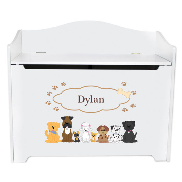 Personalized Brown Dogs Toy Box Bench Custom