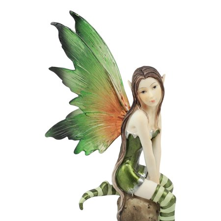 Ebros Whimsical Peppermint Elf Fairy Sitting On Tree Stump Statue 9.5