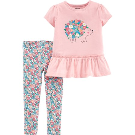 Carters Baby Girls Floral Hedgehog Peplum Leggings Set](Hedgehog Suit)