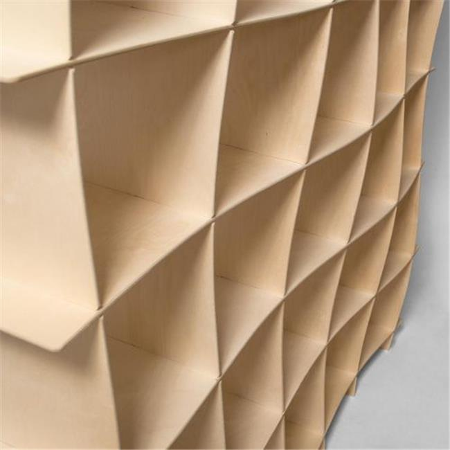 25 Cubby Wave Mid Century Bookshelf in Raw Baltic Birch