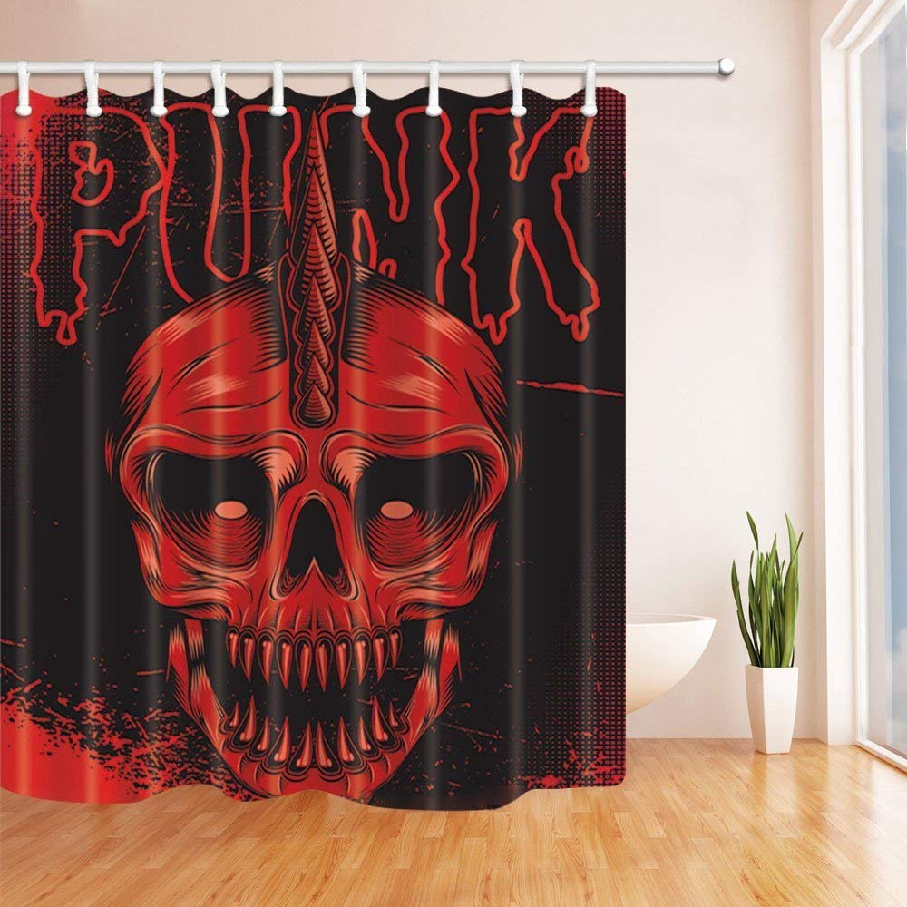 Halloween Flower Skull Curtain Vintage Fabric Waterproof Bathroom Decor US STOCK