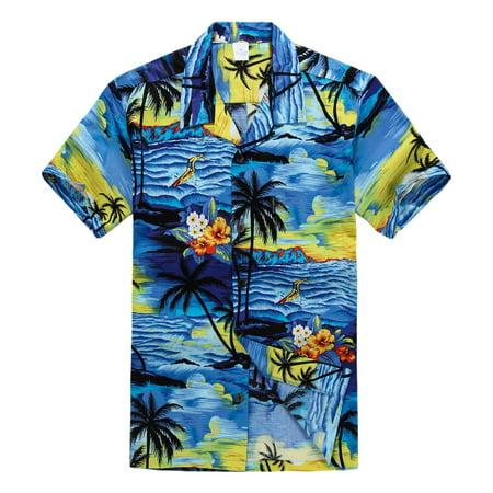 Hawaiian Shirt Aloha Shirt in Sunset Blue (Leaves Mens Aloha Shirt)