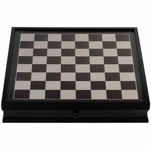 "Deluxe Chess Board with Storage Drawers, Black Stained Wood, 19"" by Generic"