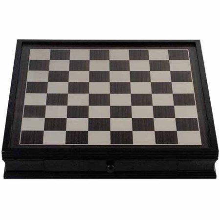Black Leatherette Chess - Deluxe Chess Board with Storage Drawers, Black Stained Wood, 19