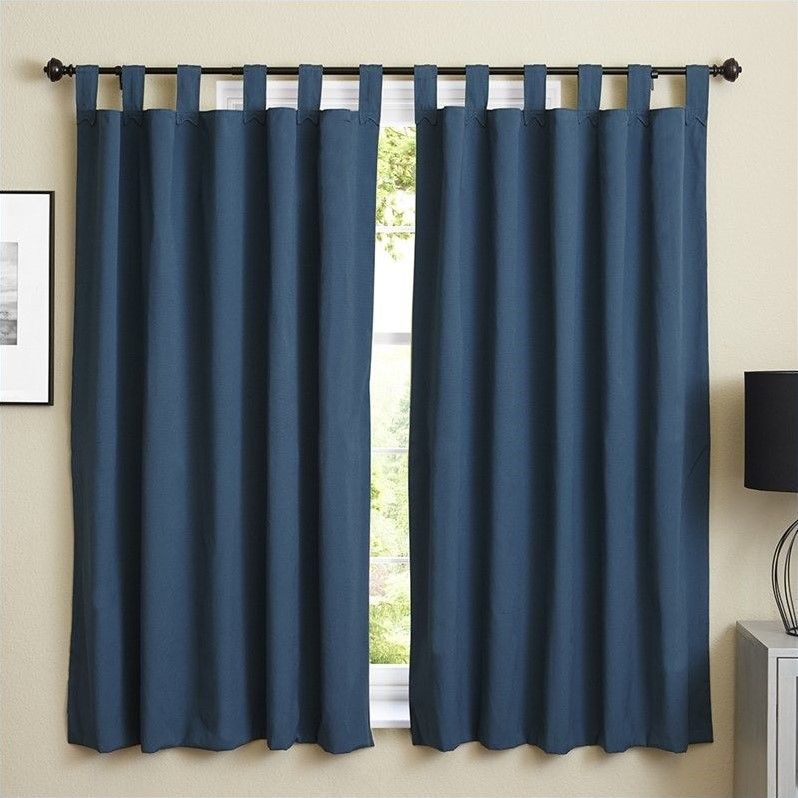 Blazing Needles Twill Curtain Panels in Indigo and Mojito Lime (Set of 2) - image 4 de 4