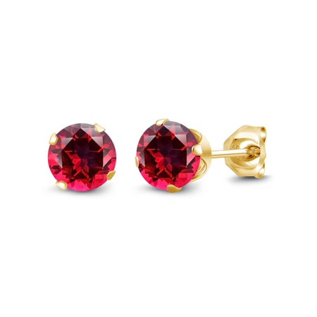 18K Yellow Gold Plated Silver Stud Earring Set with Blazing Topaz from Swarovski