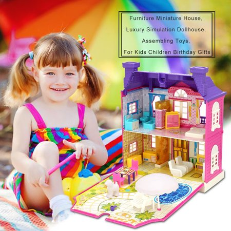 Creative Movement Music - Dollhouse Miniature with Furniture, DIY Dollhouse Kit with Light and Music Movement, Creative Room for Christmas Gifts Idea