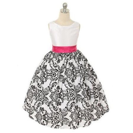 Efavormart Lovely Girls Dress with Black Velvet Flocked Damask On White Taffeta Birthday Girl Dress Junior Flower Girl Party Dress