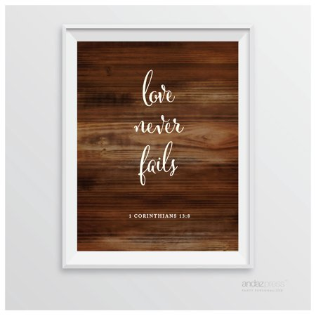 Corinthians 13 8   Love Never Fails Biblical Quotes Rustic Wood Wedding Signs