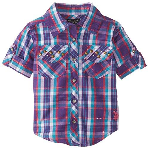 U.S. Polo Assn. Baby Girls' Plaid Rhinestone Studded Shirt with Roll Cuff Sleeve, Stark Purple, 24 Months