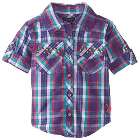 U.S. Polo Assn. Baby Girls' Plaid Rhinestone Studded Shirt with Roll Cuff Sleeve, Stark Purple, 24 Months ()